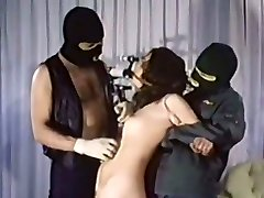 Horny tied up vintage dark-haired girlie gets mouth fucked on the floor