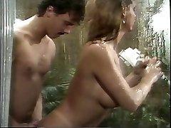 Classic busty porn queen sucks huge man-meat in the shower then fucks