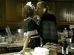 French maid pummeled in the kitchen