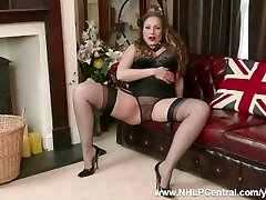 Natural good-sized tits brunette Sophia Delane strips to nylons leather stilettos as bra panties off and wanks