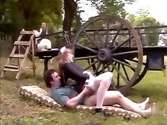 French maid in pantyhose fucks on a farm with huge jizz flow