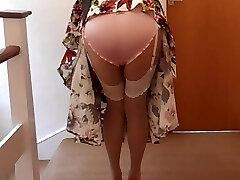 Nylon satin and high heels