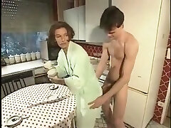Boy helps Mother with the dishes German Classic