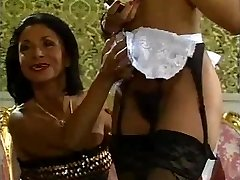 Mature lady and her dark-hued maid doing a guy - antique