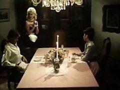 Antique maid blows jizz-shotguns under the table