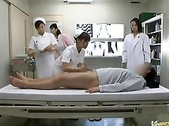 Wild Asian nurses take turns riding patient