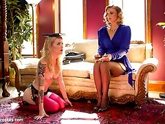 Mona Wales runs a high class ring of call girls who cater to the dark fantasies of the rich and powerful.  Brand new girl Jeze Belle experiences Electro fucking for the FIRST TIME, learning that if she wants to meet rich and powerful men, she first has to please one powerful woman. She is putty in Mona's hands, experiencing her FIRST EVER ANAL in the form of an electro plug that shocks her ass as she rubs her clit to get her pussy wet and ready for fucking. She licks her boss' pussy until she cums, and then gets tied up and covered in sticky pads zapping her ass and thighs and fucked by the violet wand until she gushes cum. For her final test, Jeze Belle gets strap-on fucked in multiple positions while bound.  She learns to take Electro cock and beg for more!