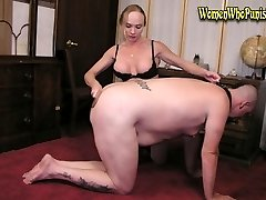 Darian spanking with wooden spanking paddle