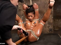 Welcome amazing sultry Flesh Diamond back to HogTied.SCENE 1 Skin is dragged on set by Claire and bound in a draped frogtie with her elbows together. A lovely red ball gag is pushed deep into her mouth and her head pulled back cock-squeezing by hair restrain bondage. She looks furtively around as Claire torments her. The pain heightens her pleasure. Her moans rhythmic and seductive.SCENE 2 Bound against a pillar, Skin is hung upside down in an extremely challenging straddle suspension. She gets kneaded with grease and glistens, showcasing off all of her curves and making her breasts and culo really stand out. Claire takes note and bashes her so rock hard with the flip cat she takes most of the oil off. The jizm that we wring from Flesh is every bit as epic as her stamina restrain bondage.SCENE Trio With her legs above her head, Skin is trussed in an upright plenty of driver type posture with her palms tied severely above her head and secured to a spreader bar. Every pose has put Skin to her restrain and this one shoves her the toughest. Slicked with grease and suspended in the air she is the perfect bondage puppet squirting cum slut.SCENE 4 Back on the rafter, her mid-body is bound to her thighs shoveling her outstanding ass out impressively far. Her arms are roped in switch sides prayer. Her mitts are tied to her wrists to keep her face up and pulled back to an extreme angle. Skin's head is back to far she can't even gulp! She takes it, firm. Skin Diamond is the best of the best... the best orgasms cum from the most challenging bondage - only on Hogtied.com.