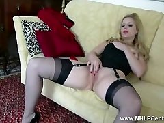 Blonde Aston Wilde tease in antique lingerie heels nylon strip panties wank