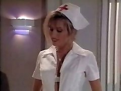 Vintage nurse scene. Spunks on her soles