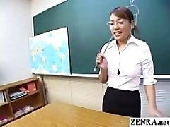 Classic JAV CFNM teacher handjob sucky-sucky demonstration