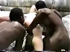 Naughty wifey gets gangbanged by black studs.