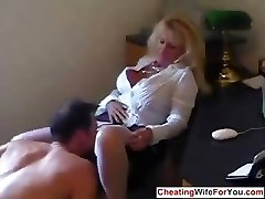 Mature hot assistant gulp cum