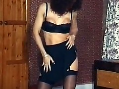Antique mature stocking striptease dance