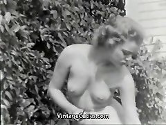 Nudist Girl Feels Good Naked in Garden (1950s Antique)