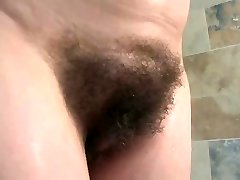 english mature bathes her giant hooters & hairy snatch