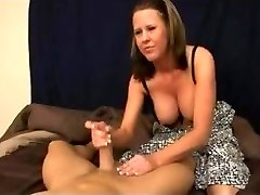 Step-Mom gives step-stepson handjob