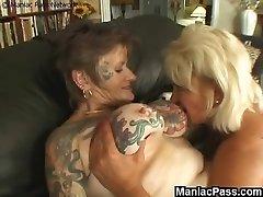 Tattooed lesbian granny drilled