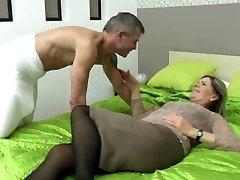 Sexy granny suck and nail lucky boy