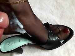 Feet in Nylons soaked in Spunk and Piss