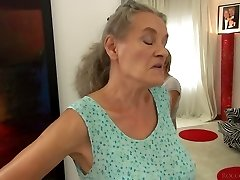 Short haired girl Tricia Teenie fucks a granny and a horny man in 3some