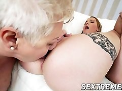 Chubby grandmother Astrid in hot lesbian sex with horny cute Lulu