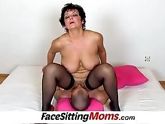 Humungous boobs lady Greta old young facesitting and pussy eating