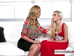 Classy mother pussylicks and fingers stepteen