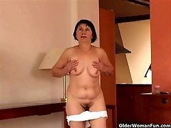 Over 70 granny does striptease and drains