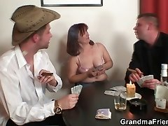 Stiff 3some with oldie after disrobe poker