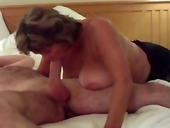 Big-chested Mature Swallows All of Hefty Young Cock