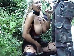 Pierced Ash-blonde Mom Gets A Facial Cumshot Outdoors
