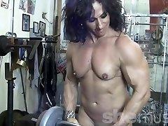Annie Rivieccio Bare Girl Bodybuilder in the Gym
