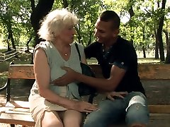 Horny granny Norma blows hard dick of a super-naughty stud after kissing