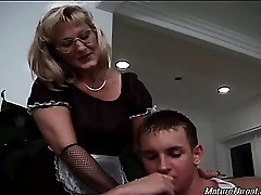Hot and stellar blonde mature maid gets nasty with her boss