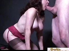 Busty cougar in stocking chooses it doggy style