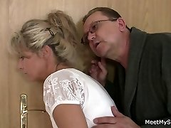 She spreads her gams for his senior parents