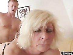 German grandma fucks hard