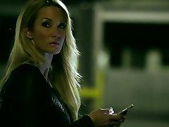 Sassy platinum-blonde mother Jessica Drake penetrates handsome guy on a parking lot