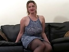Blonde fat mature gets fucked by 2 black studs