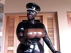 The Huge-boobed Spandex Uniform Bitch - Blowjob Handjob with Latex Gloves - Cum in my Mouth