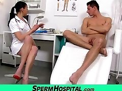 Bossy head nurse cougar Renate tugjob with young masculine