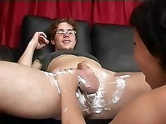 Mom Shaves Then Blows Boy's Cock