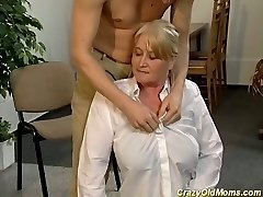 Mature blonde police officer gets smashed and facialized