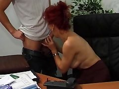 Hot Euro Mature Red-haired Fucks In Office
