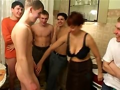B-day boy humps his friend's mom with fellows