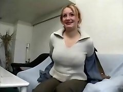 Plump mature blonde female gives dialogue and undresses