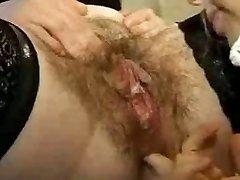 Hairy Lesbian mature fisting