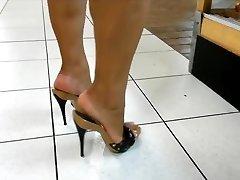 Mature legs & soles in high heels mules (best of)